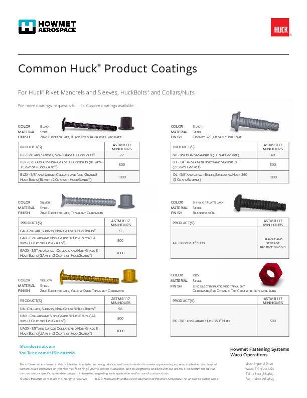 Huck Coatings Flyer