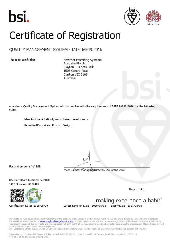 IATF 16949_2016 Automotive TS 537800 2018-2021