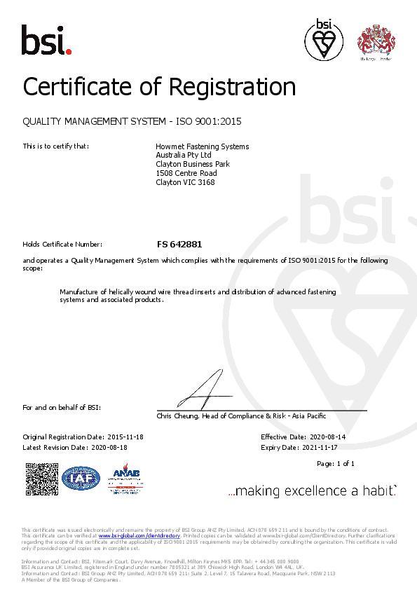 ISO 9001_2015  Howmet - FS 642881 2020-2021