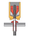1. La tige est placée dans le logement - L'outil est placé sur la tige de traction de la fixation
