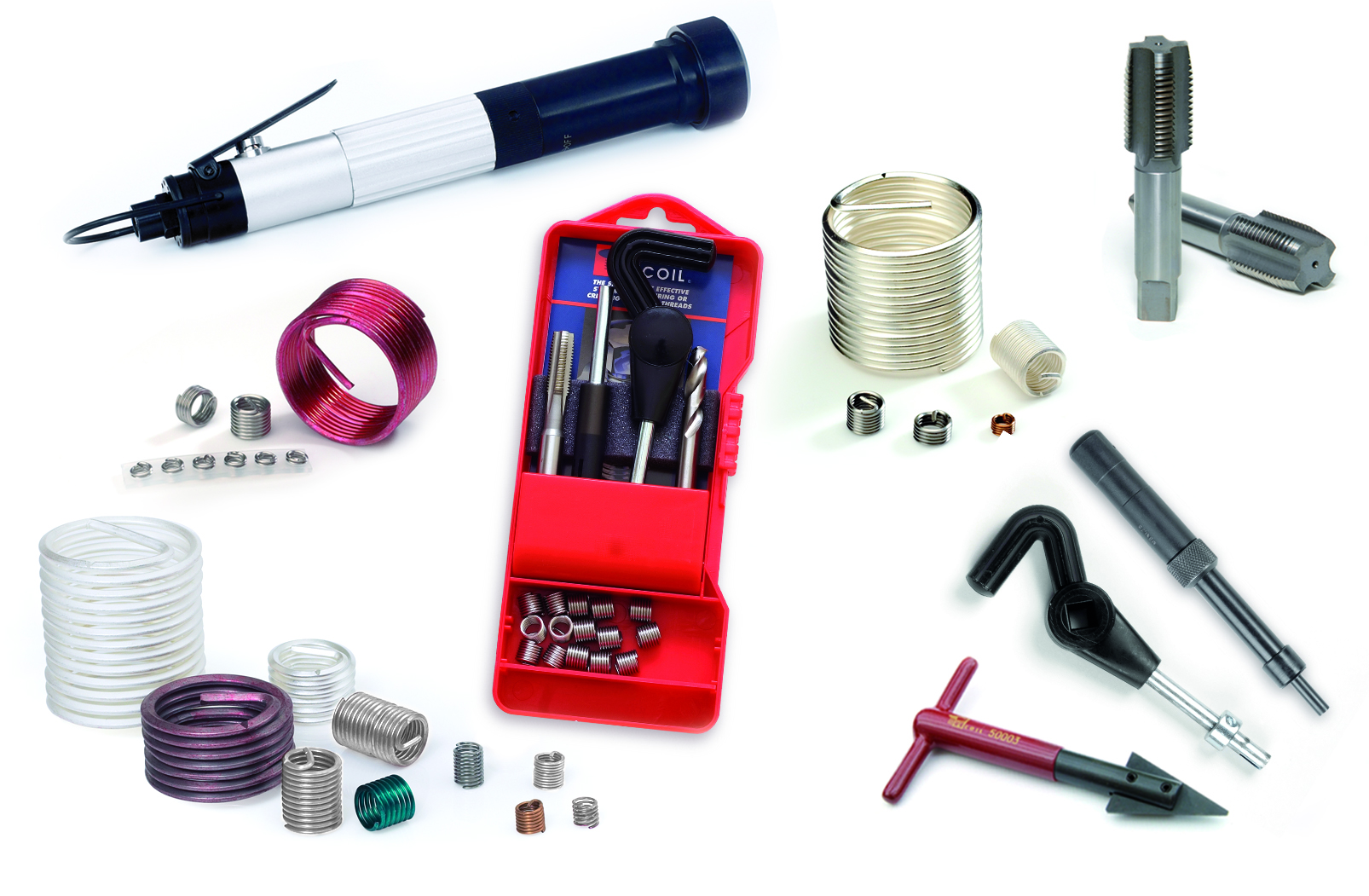 A wide range of wire thread inserts, tangless inserts, installation tooling and thread repair kits: