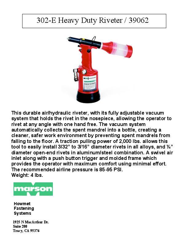 Howmet 302-E 39062 Manual