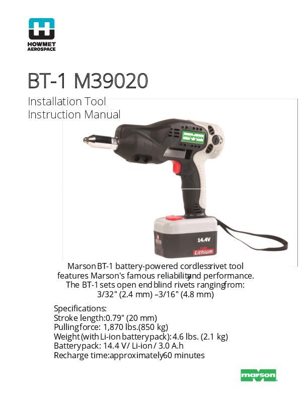 Howmet BT-1 39020 Manual