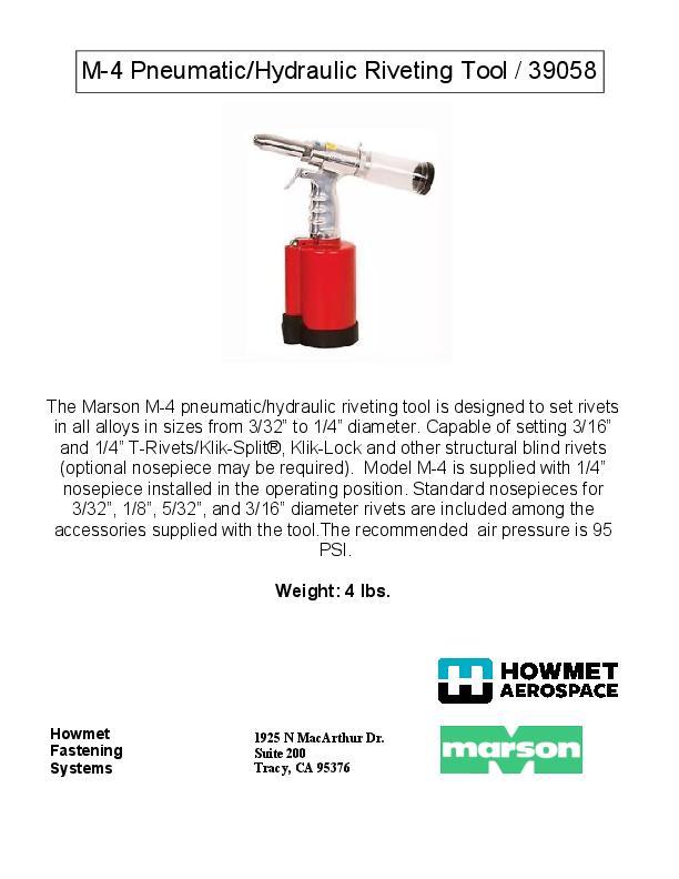 Howmet M-4 39058 manual