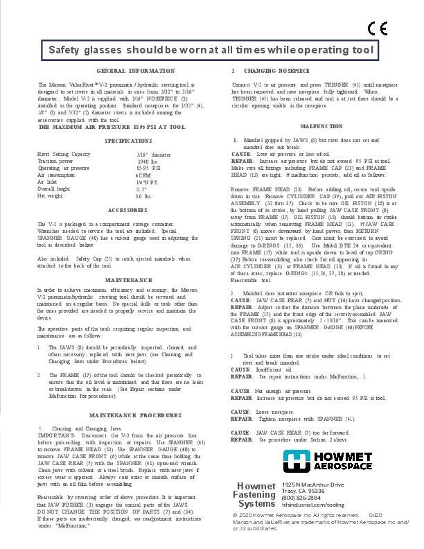 Howmet V-2 Instruction Sheet