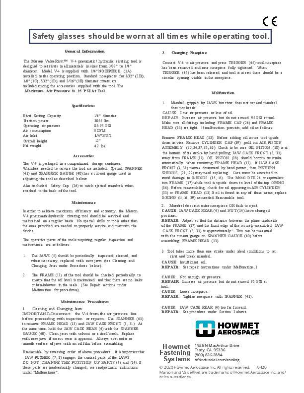 Howmet V-4 Instruction Sheet