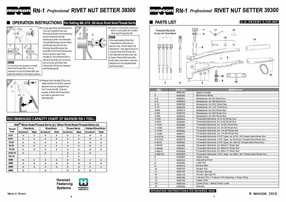 Howmet RN-1 39300 manual