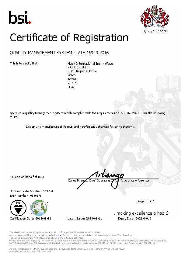 Certificate of Registration / IATF 509754 9-2018