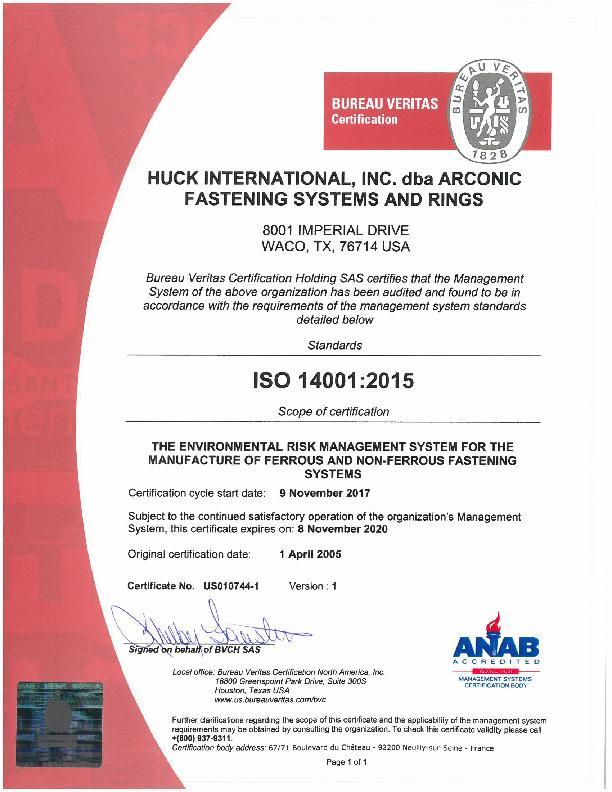 Certificate of Registration / ISO 14001:2004