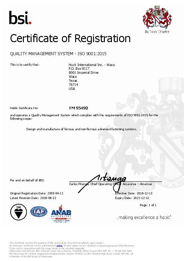 Certificate of Registration / ISO 9001:2015